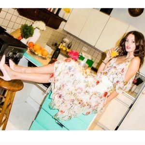 Alice + Olivia Tula silk midi skirt